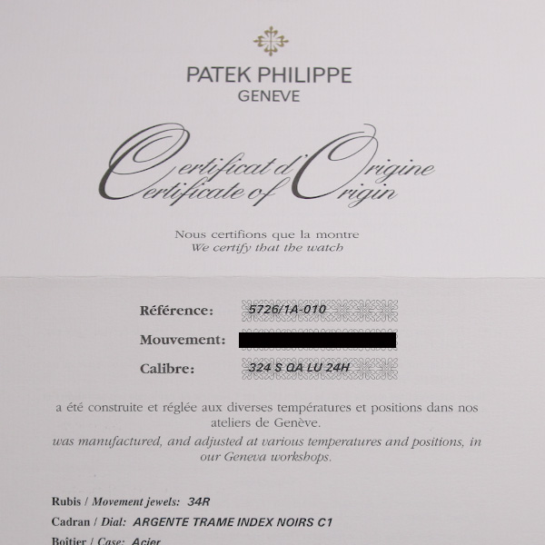 パテックフィリップ ノーチラス アニュアルカレンダー 5726/1A-010 USED-7270-9
